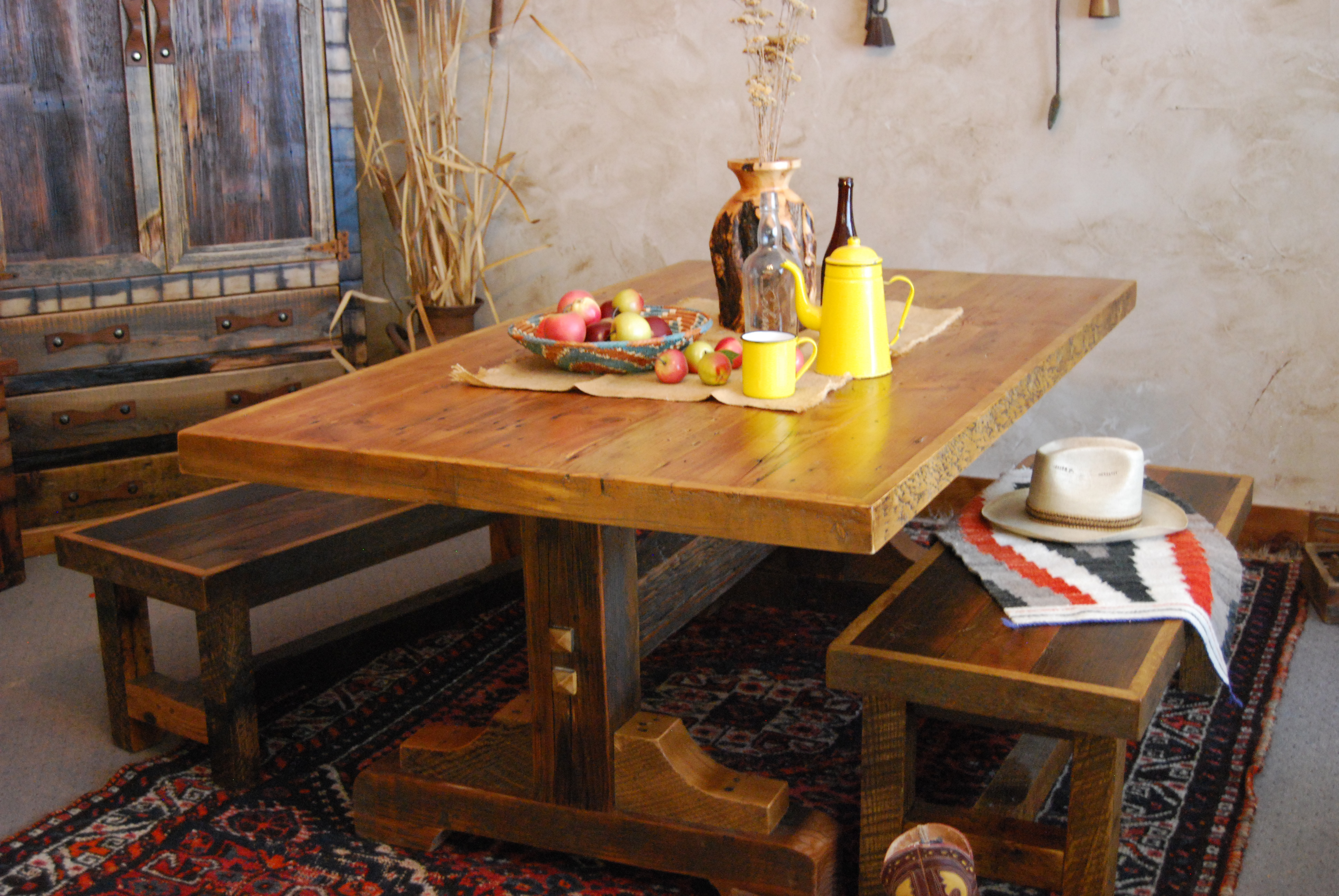black mountain trestle base dining table uintah log and reclaimed